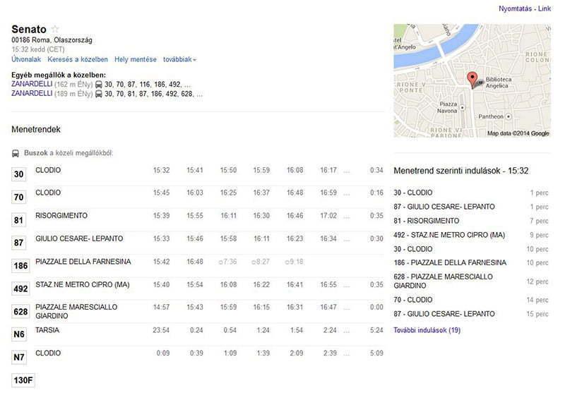 Római menetrend részletei iPadon